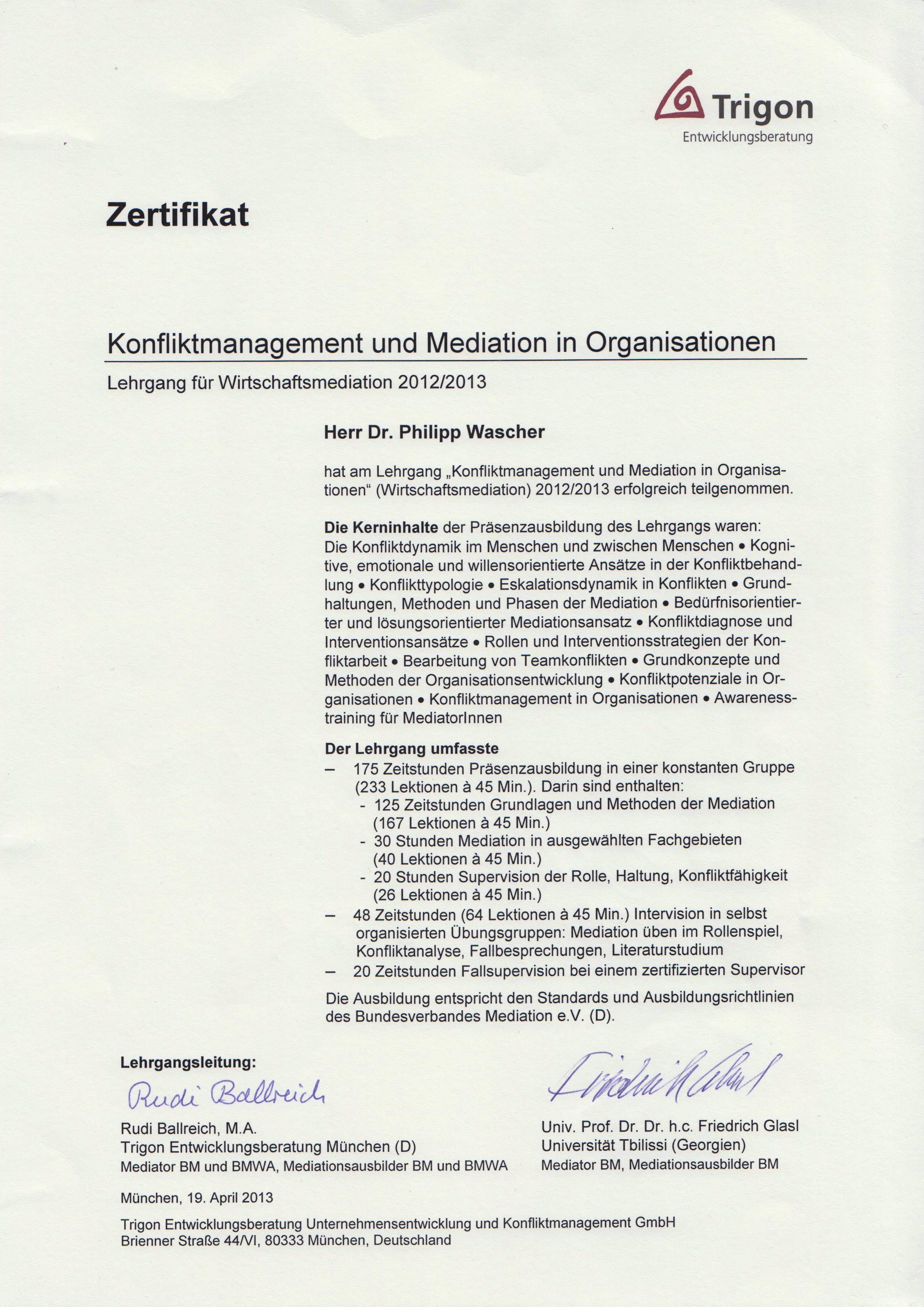Dokument WirtschaftsMediation_Zertifikat